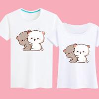 蜜桃猫男女情侣装夏装短袖半袖T恤衣服小衫2018新款可爱呆萌系潮