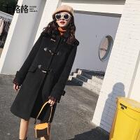 牛角扣chic大衣女冬黑色毛呢外套中长款韩版学生韩国呢子2017新款