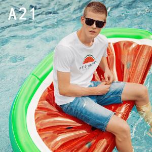 以纯线上品牌a21 夏装新款圆领短袖T恤男 修身型字母印花小清新青春活力学院短T