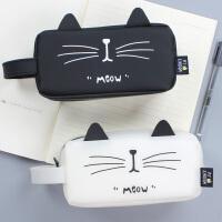 超大容量简约铅笔袋 女学生创意猫咪硅胶笔袋韩国男生文具盒