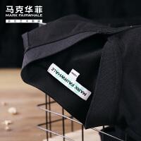 马克华菲短袖t恤男polo衫2021夏季新款潮牌潮流港风纯色黑色立领