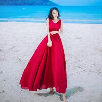 夏季新款性感V领无袖收腰雪纺连衣裙波西米亚海边度假沙滩长裙仙 红色