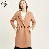 Lily2017冬新款女装商务通勤纯色中长款毛呢大衣117449F1970