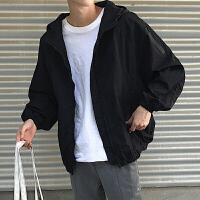 男装秋季新款男士连帽立领夹克外套运动百搭潮流上衣男