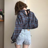 秋冬女装韩版学院风小心机后背系带格子长袖衬衫露背衬衣上衣学生