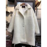 M2春季新款2018女装仿貂绒中长款外套韩版大衣时尚开衫毛呢子1.35
