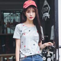 夏季新品韩版百搭显瘦五角星印花短袖T恤女棉贴布口袋小衫