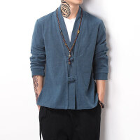 中国风男装民族复古盘扣开衫男中式禅意亚麻大码胖子夹克外套上衣
