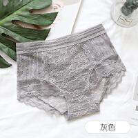 蕾丝高腰内裤女性感透明大码提臀收腹舒适纯棉裆蕾丝女士三角裤