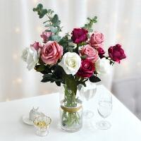 单支红玫瑰花束仿真花塑料假花绢花装饰插花室内客厅家居摆设