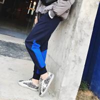 加绒加厚运动裤女秋冬小脚f显瘦卫裤束脚哈伦裤休闲裤长裤子韩版 藏蓝色