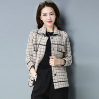 18春季新款时尚短外套女版宽松显瘦复古风格纹仿貂绒开衫女