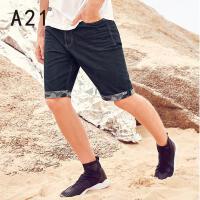 以纯线上品牌a21 男装夏季牛仔短裤男潮 2017新款直筒水洗五分裤个性潮流牛仔裤
