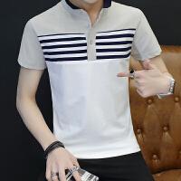 夏季男士短袖t恤衬衫V领半袖打底衫韩版翻领polo衫潮男装体恤衣服P804