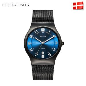 Bering白令进口防水钢带石英表蓝宝石镜面钛合金男士手表11937