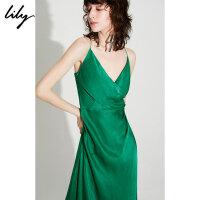 【2件4折到手价:299.6元】 Lily秋新款女装不规则拼接设计感低胸吊带连衣裙119330C7624