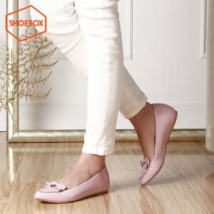 达芙妮旗下SHOEBOX/鞋柜 浅口平底单鞋潮新款甜美套脚尖头女鞋