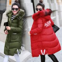 2018冬装新款大码女装秋冬季中长款加厚棉衣外套 17052