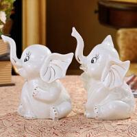 家居客厅酒柜装饰品摆件结婚礼物陶瓷描金情侣象摆设21056 套装一对价