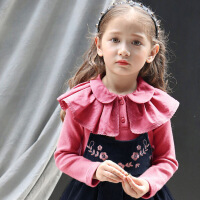 2018春季新款韩版童装女童打底衫翻领长袖T恤儿童百搭纯棉娃娃领