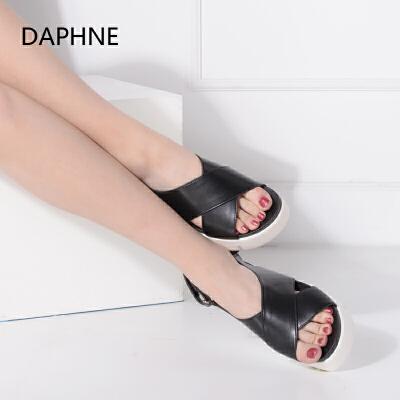 Daphne/达芙妮夏新品厚底松糕女凉鞋魔术贴平底鞋