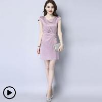 连衣裙夏季中长款2018新款圆领气质短袖裙子女 粉红色