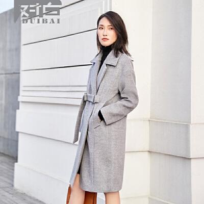 对白灰色呢子秋冬外套女中长款时尚气质休闲毛呢大衣时尚半腰带下摆开衩简洁分割直筒版型