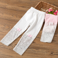 女童打底裤夏季薄款女孩外穿七分裤蕾丝白色儿童短裤莫代尔裤子