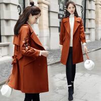 毛呢外套年冬季宽松甜美时尚潮流气质纯色拼接韩版气质呢大衣