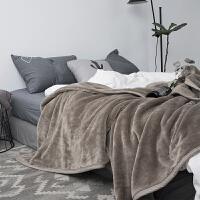 日式色毛毯双层法莱绒毯单人午休毯双人保暖加厚珊瑚绒沙发毯子