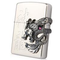 芝宝Zippo打火机 镀银雕刻贴章镶嵌 36100神龙 2006年独立编号限量款 银龙