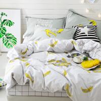 简约床上四件套纯棉1.8m床双人夏季全棉床单式被套公主风1.5m床笠 1.5m(5英尺)床 床笠款套件