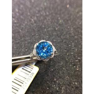 925银镶嵌天然石深艳瑞士蓝托帕石戒指,*完美