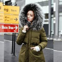 羽绒服连帽女士中长2017冬装新款韩版时尚收腰修身潮加厚军绿外套