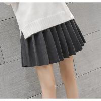 韩观毛呢百褶裙女学生高腰A字弹力短裙外穿打底裙秋冬韩版黑色半身裙
