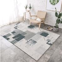 现代简约家用地毯ins北欧客厅茶几沙发大地垫薄卧室床边地毯几何j 乳白色 灰色术语(如图) 200*300CM 送门垫