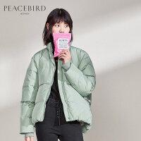 太平鸟短款羽绒服女2019冬季新款长袖纯色休闲立领直筒羽绒外套