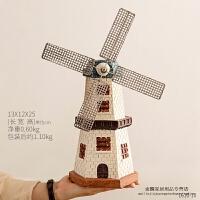 创意风车储钱罐装饰品摆件复古欧式工艺品树脂模型存钱罐装饰摆设