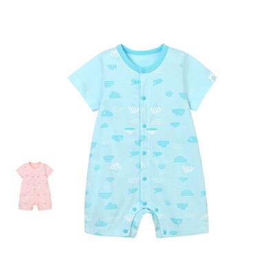 婴儿短袖对襟夏季哈衣爬服 男女宝宝连体衣