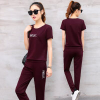 韩版女士时尚休闲运动套装 新款大码女装跑步运动服两件套潮圆领短袖T恤长裤