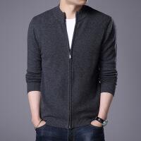 2018秋季新款羊绒针织衫半高领男士羊毛衫中青年毛衣开衫秋冬外套