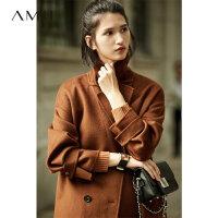 Amii[极简主义]手工诠释匠心 100%羊毛呢外套 冬双排扣双面呢大衣11743803