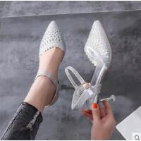 高跟凉鞋仙女风新款百搭细跟中空水钻镂空单鞋猫跟浅口女鞋