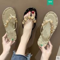 ins网红凉拖鞋女外穿新款韩版百搭平底人字拖水钻沙滩鞋