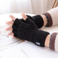 黑色半指手套男女冬天骑行针织保暖学生写字半指防寒毛线手套冬季