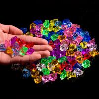 仿真冰块亚克力碎冰柜台水晶钻石1包塑料冰粒七彩小石头儿童宝石 混色 大号 25MM*18MM (150粒)