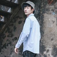 新款日系纯色潮流工装打底休闲长袖衬衫 青年百搭衬衣男
