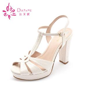 达芙妮女鞋夏凉鞋 优雅OL夏天鞋子高跟鞋T型鱼嘴粗跟女士凉鞋