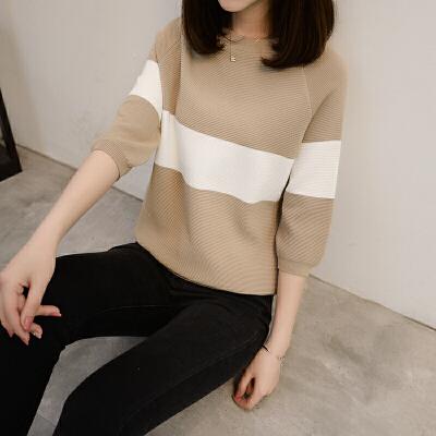 冰丝t恤女中长袖夏装七分袖上衣短款宽松针织打底衫条纹半袖体恤