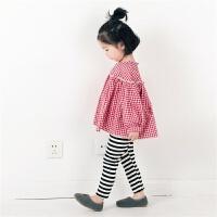 韩国格子娃娃衫春季女童打底衫T恤长袖套头春秋宽松上衣